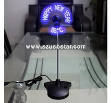 New summer fan ! Mini usb driver led message fan with temperature display