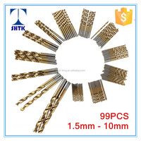 Professional grade drill bit,DIN338, Tin coated, 99PCS metal twist drill bit