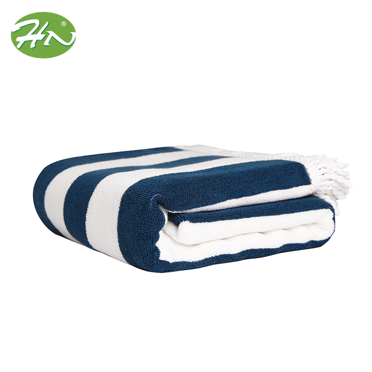 Blue And White Striped Extra Large Luxury Face Beach Towel