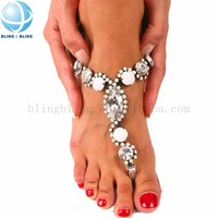 shining glass beads sandal shoe metal chain decoration sandal shoe accessory