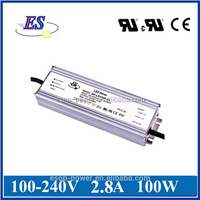 100W 2800mA 36V Constant Current / Voltage LED Driver Power Supply with UL CUL CE IP67