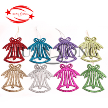 Inflatable small glitter plastic christmas tree hanging bell ornaments for tree decoration