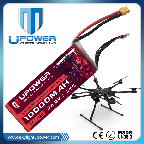 Upower rechargeable 10000mAh 6s 22.2v lipo <strong>battery</strong> for RC drone UAV