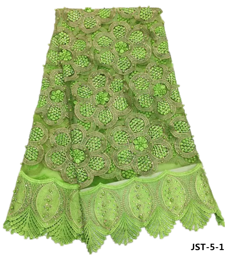 Wholesale lemon green beaded french lace 3d flower lace fabric for party