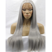 Hand Tied Weft Hair Extension Long Silky Straight Silver Grey Heat Resistant Synthetic Lace Front Wig For White Women