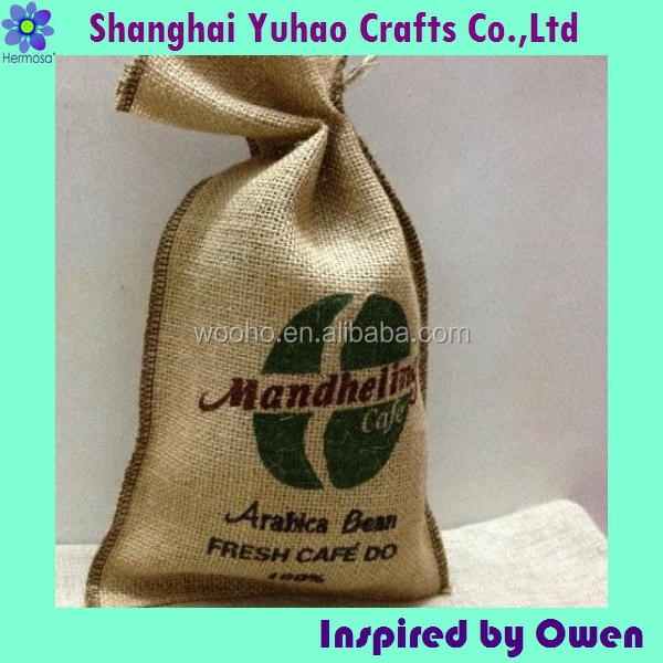 Coffee beans packaging jute bags with drawstring