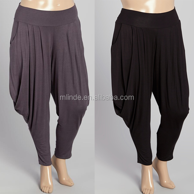 Plus Size Relaxed Fit Flaunt Trousers Wholesale Solid Stylish Hip Hop Lady Women Casual Long Loose Bloomers Harem Pants