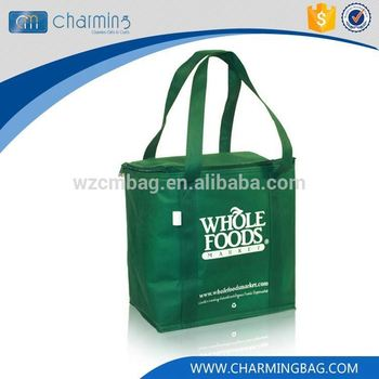 New products simple design non woven green zipper fruit can cooler bag