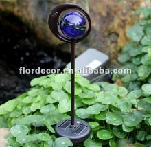1 LED blue round glass ball lamp with steel moon frame solar Stake lights(SO3087)