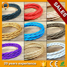 Twisted Italian Coloured braided lighting 3 core fabric cable flex cord Vintage