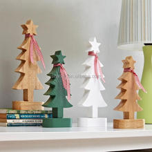 Wooden christmas tree model happy holiday table decoration