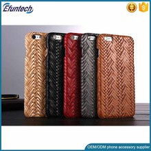 Hot selling mobile phone case woven texture PU leather phone case for iphone 6s plus