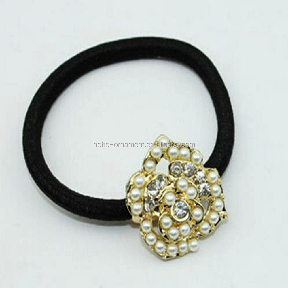 elegant fancy black Elastic Ponytail Holders with beads for girls nature hair accessories