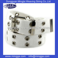 cheap web strap white d ring cotton belt with eyelets