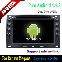 Quad core mirror-link hotspot capacitive screen bluetooth wifi 3g mp3 mp4 radio dvd for android 4.4.2 Renault Megane gps