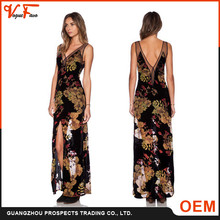 2016 Spring&Summer New Designs Sexy Deep V XXL Size Fashion Lady Printed Dress