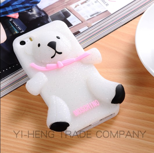 2014 Hot Selling Crystal brown 3D cute luxury silicone Teddy Bear case for iphone5 5s fashion silicon cover