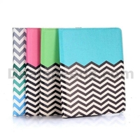 Wave Line and Anchor Pattern 360 Rotating Elastic Belt Side Flip Stand PC+PU Leather Case for iPad 4/ iPad 2/ The New iPad