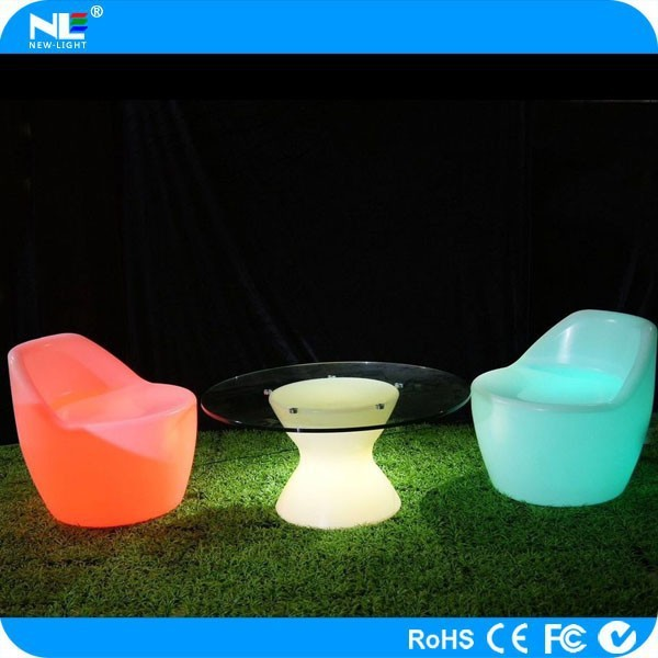 Custom electronic color changing plastic LED chair light / make clear LED shining lighted chair