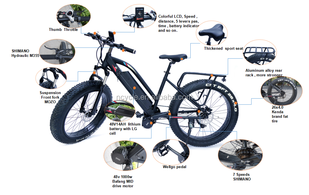 bafang mid drive 1000w fat tire electric bicycle with front suspension