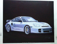 New arrival high end silver car design handmade oil painting wall hanging art