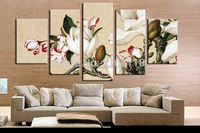 5 piece decor art set modern wall art Flowers Gardenia Realistic hand painted Oil Painting on Canvas for living room decoration