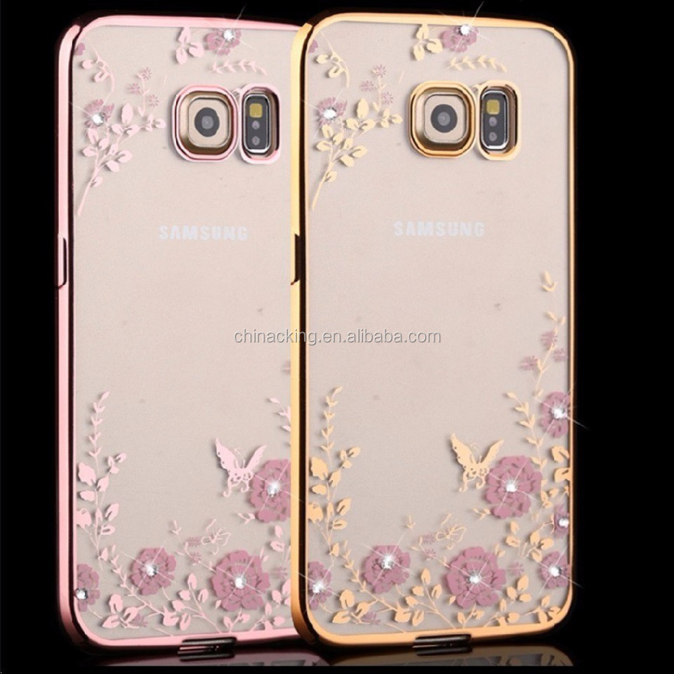 Fashion Diamond Flowers Cover Case for Samsung Galaxy S5/S6/S6 edge/S/S7 edge/ Note3 4 5 / A5 Plating Crystal Clear Phone Case