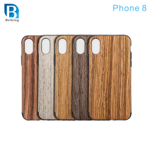 Wood Grain Skin Leather Soft TPU phone case for iphone 8