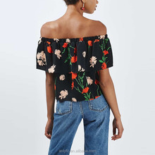 Dongguan lady apparel manufacturer new design off the shoulder flower print tops with short sleeve