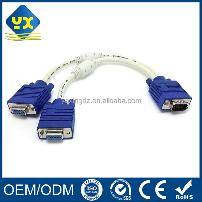 Factory Hot sale 1 Male to 2 Female VGA 15pin Y Splitter Cable for TV PC