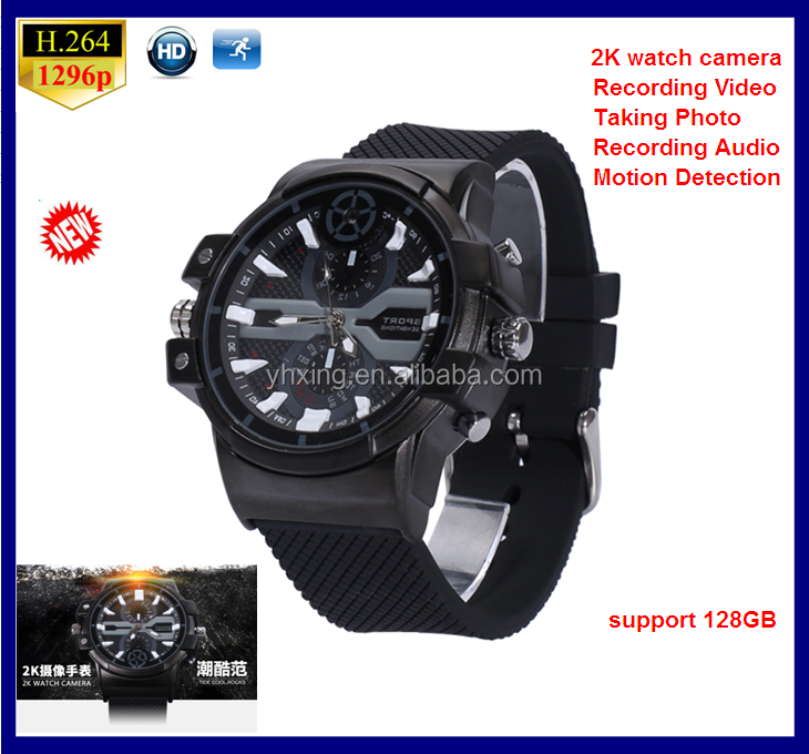 2016 newest 2304*1296P hd spy camera watch with Motion Detection,High tech 1296P hd man wrist watch camera