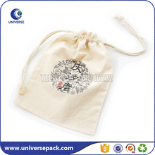 Top Drawstring Storage Cotton Muslin Pouch With SIlk Printing Logo
