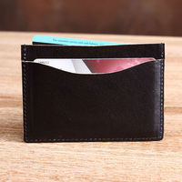 2014 newest item leather card sleeve ATM card holder Italian vegetable tanned leather black