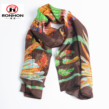 2016 fashion multicolor floral print polyester fashion scarf