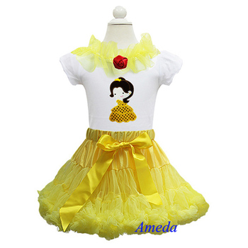 Girls Yellow Pettiskirt Tutu Embroidered Belle Princess Short Sleeves Tee Party Dress 1-7Y