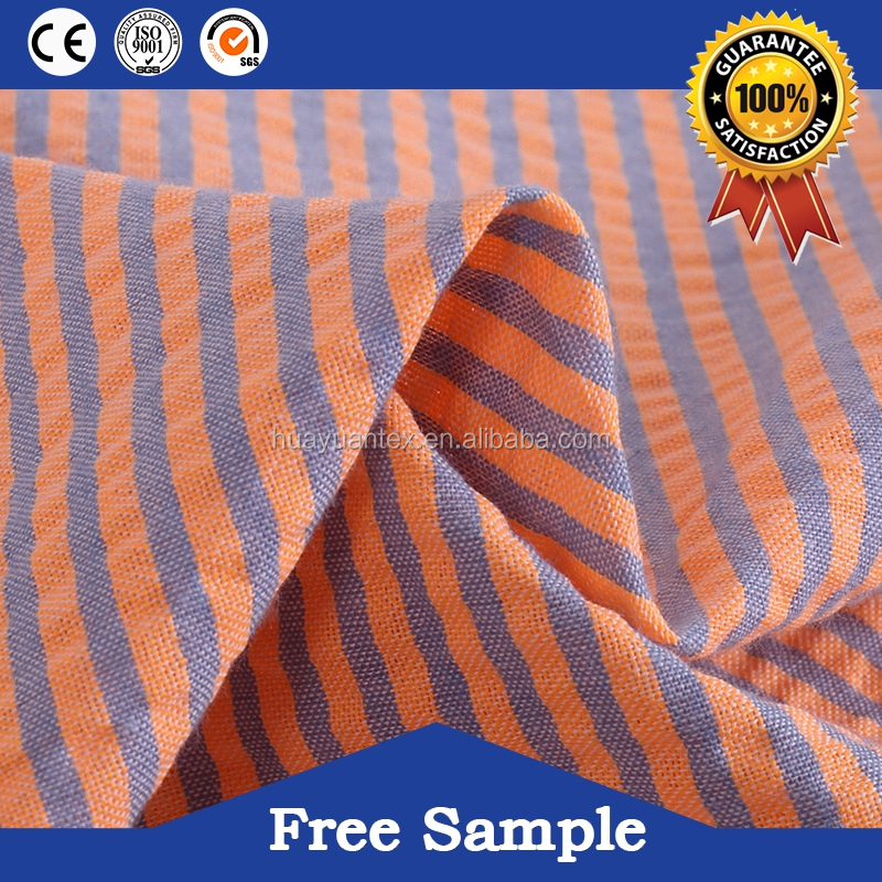 hot sell yarn dyed cotton striped seersucker fabric for women dress