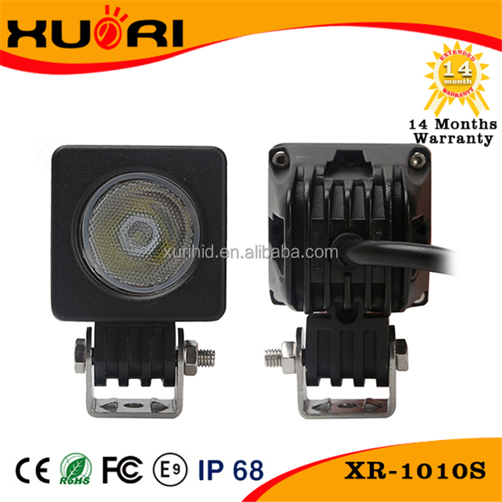 Hot Auto Parts 12v motorcycle led front lights 10w led small light square led working light for vehicles boats