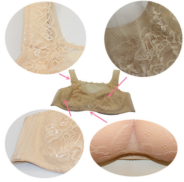 ONEFENG Comfortable Sexy Exposed Silicone Fake Breasts Forms Bras for Men Cross Dressing Transgender Brassiere Shemale