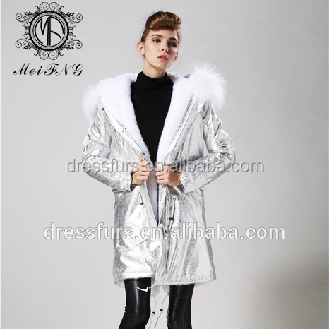 Wholesale women garment winter garment white faux fur lining from garment factory
