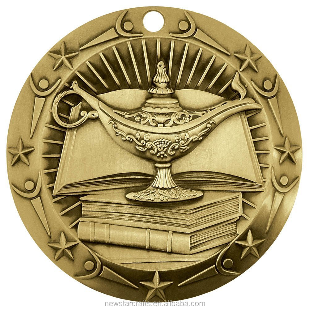 Custom Academic gold medals with ribbon