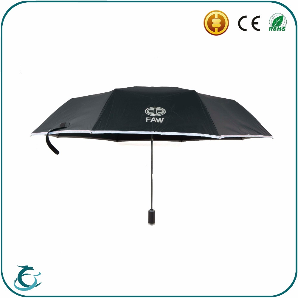 Promotional safety auto open close travel reflect light umbrella