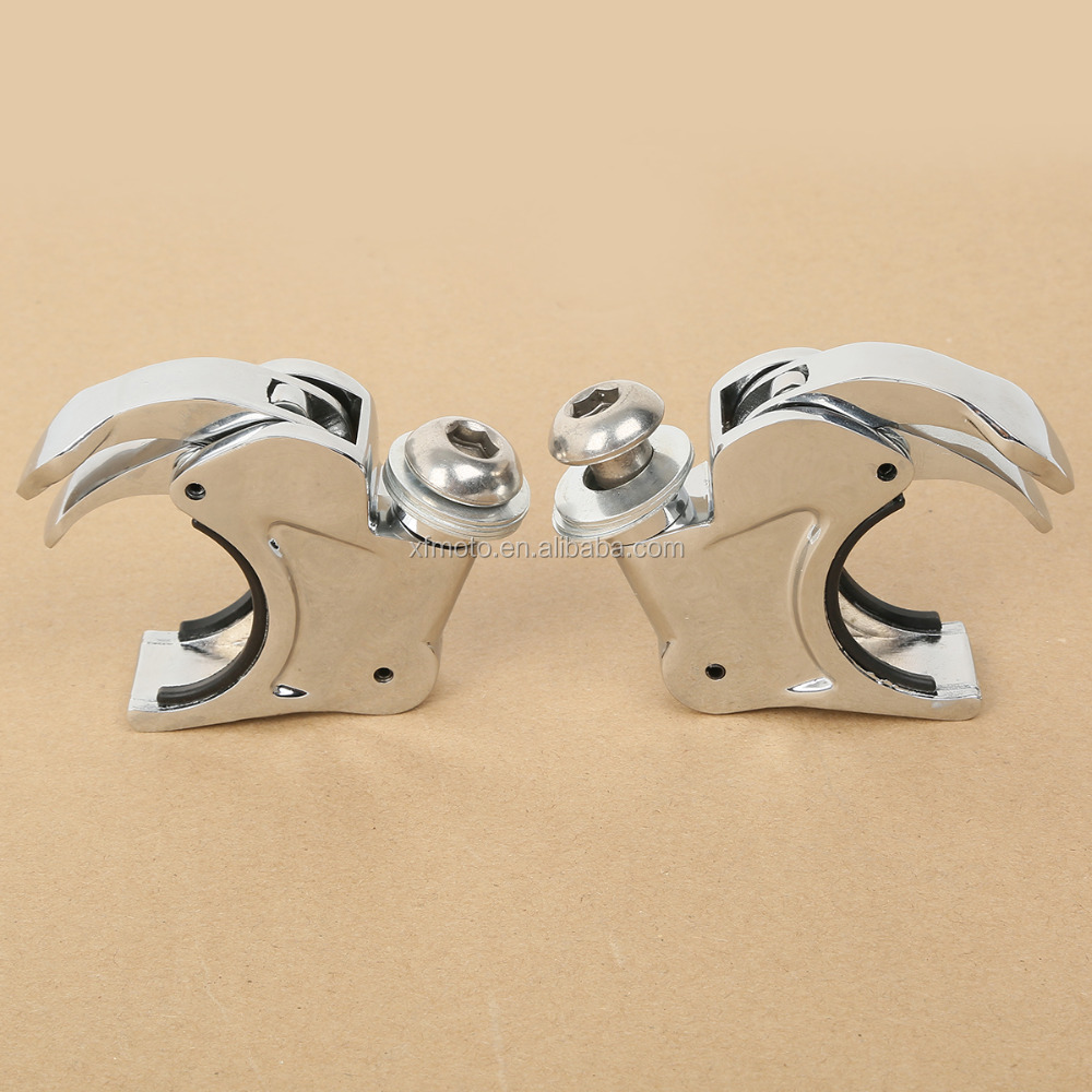 Chrome Left Right 41mm Windshield Windscreen Clamps For Dyna Sportster