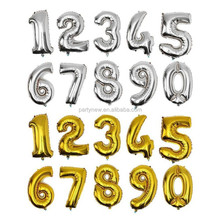16 Inch inflatable foil number balloons for decoration 0-9 golden/silver available