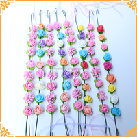 9 pcs Colorful Rose Head Wreath For Wedding Hair Accessory PE artificial Flower With Silk Ribbon