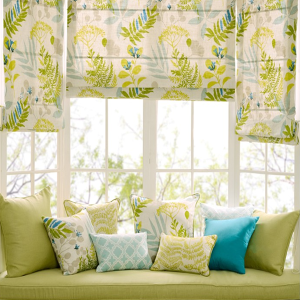 Custom American style cotton and linen Roman shade