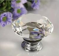 G76 40mm Kitchen Room Cabinet Handle Knob Diamond Crystal Glass Alloy Door Drawer Pulls Knobs