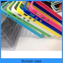 Color Silicone Bumper Frame Case with Metal Buttons tpu bumper for iPhone 5 5G 5th(PT-I5B201)