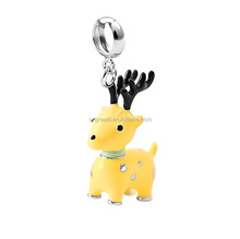 925 silver animal charm pendant fashion pendant beads with enamel