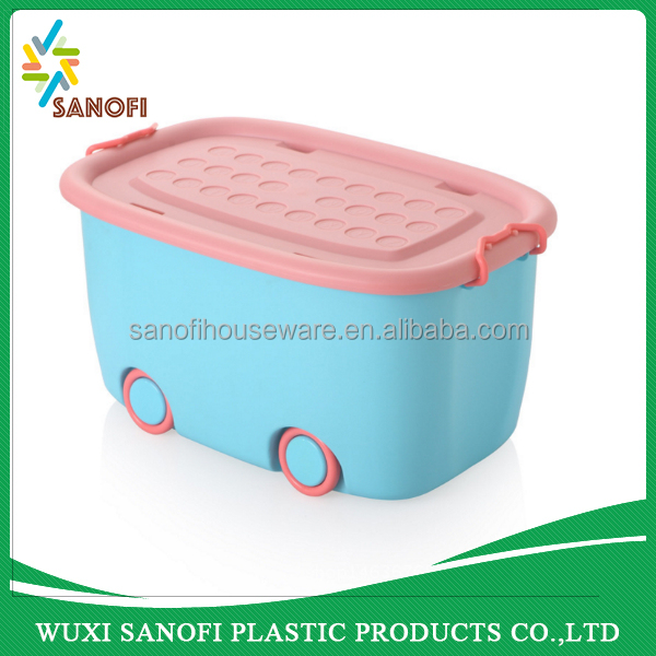 Plastic colorful carton car storage box With Wheels