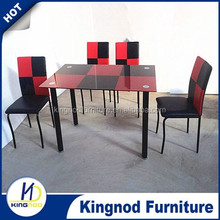 Home furniture use Square metal base Red and Black glass dining room table